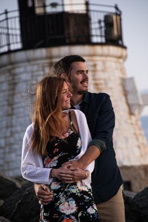 Melissa and John Engagement Castle Hill Inn Newport Lighthouse